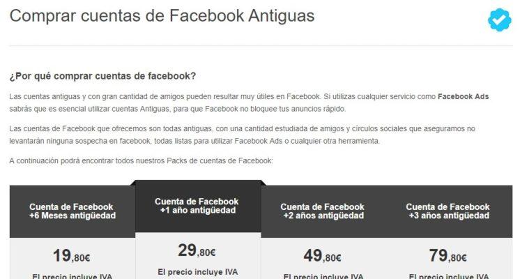 venta páginas Facebook antiguas